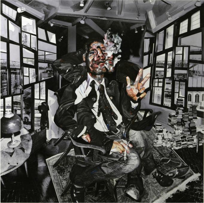 Chambliss Giobbi, Portret Fisherja Stevensa 1, kolaž, lepilo Magic-Sculpt na aluminijasti plošči, 152,4 cm x 152,4 cm x 5,08 cm, 2007.