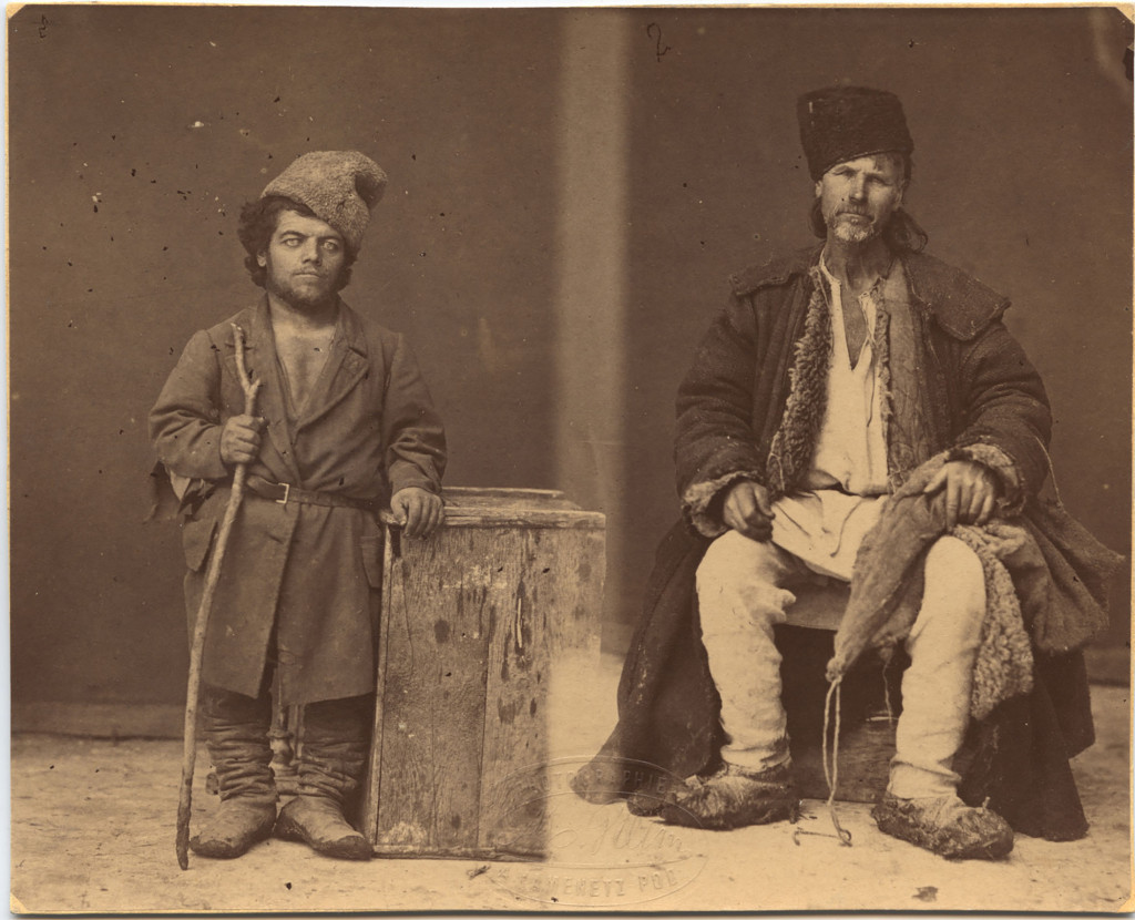 Michał Greim: A Moldawan dwarf and a nobleman of the Podolian race from the Chocim region, 1870s-1880s, albumen print.