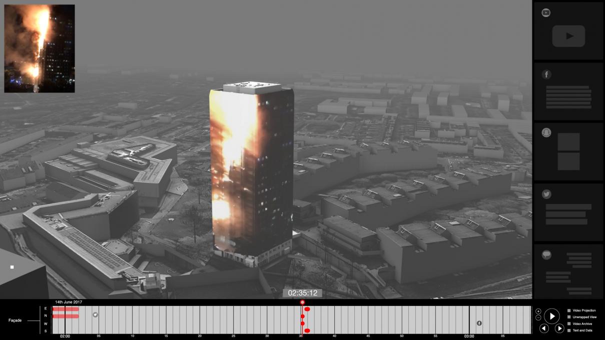 Slika 3. Požar v stolpnici Grenfell (London, 14. junij 2017). Delna 3D rekonstrukcija dogodka.