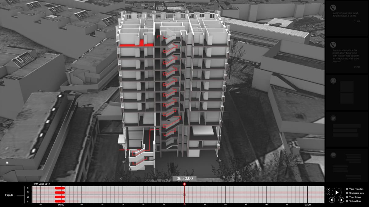 Slika 4. Požar v stolpnici Grenfell (London, 14. junij 2017). Delna 3D rekonstrukcija dogodka.