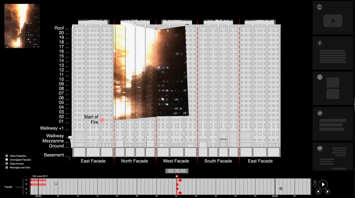 Slika 5. Požar v stolpnici Grenfell (London, 14. junij 2017). Delna 3D rekonstrukcija dogodka.