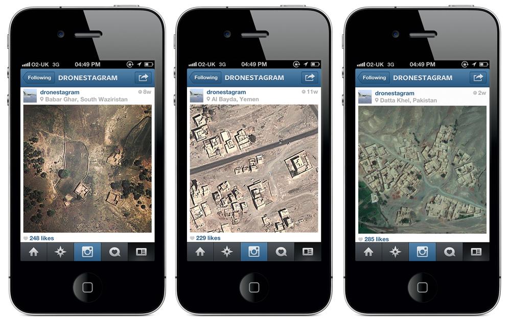 Slika 13, James Bridle, Dronestagram, 2012 - , fotografija in družbeni mediji, spletni projekt. Z dovoljenjem avtorja / booktwo.org.