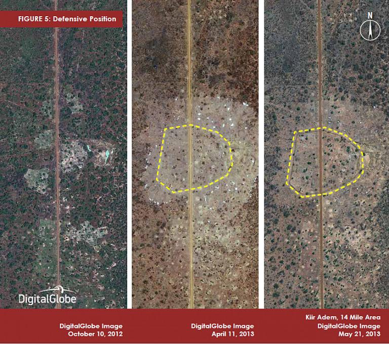 Slika 5, Obrambni položaji, Kiir Adem, območje 14 milj, 10. oktober 2012, 11. april 2013 in 21. maj 2013. Z dovoljenjem DigitalGlobe.