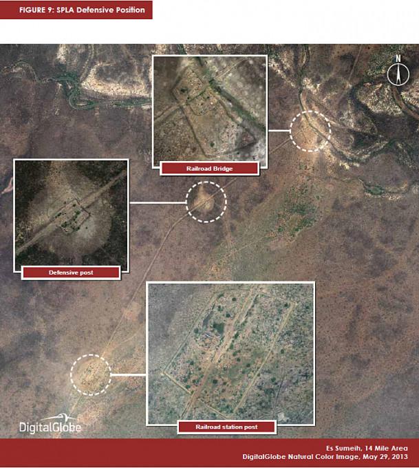 Slika 4, Obrambni položaji SPLA, Es Sumeih, območje 14 milj, 29. maj 2013. Z dovoljenjem DigitalGlobe.