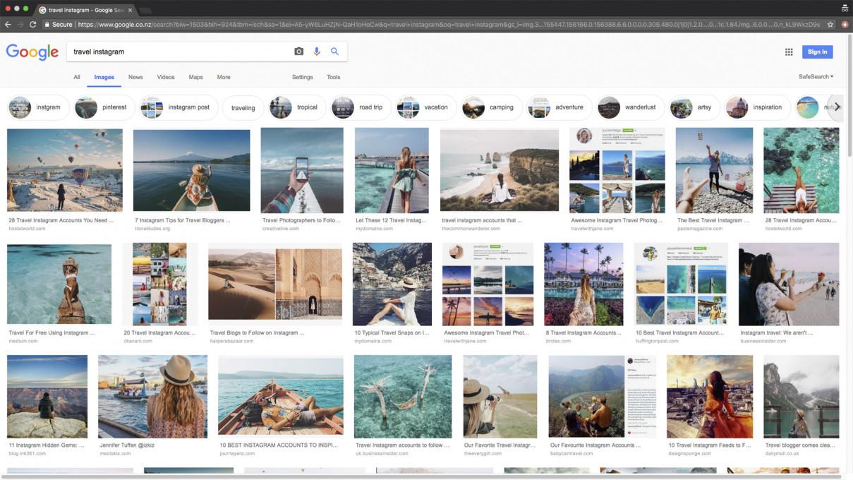 Slika 1 Posnetek ekrana z rezultati Googlovega iskanja za niz »travel instagram«, ki je nastal 2. oktobra 2018 ob 11:23:55. © 2018 Google in Google logo sta registrirani znamki Google LLC, objavljeno z dovoljenjem.