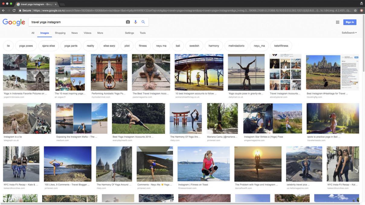 Slika 2 Posnetek ekrana z rezultati Googlovega iskanja za niz »travel yoga instagram«, ki je nastal 2. oktobra 2018 ob 11:23:04. © 2018 Google in Google logo sta registrirani znamki Google LLC, objavljeno z dovoljenjem.
