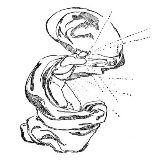 Slika 13 F. Y. Cory, 1901. Označevalec značaja (The Character Marker). [pero in črnilo] V: Baum, L.F., 1901. The Master Key. Indianapolis, IN: Bowen-Merill. Project Gutenberg License.