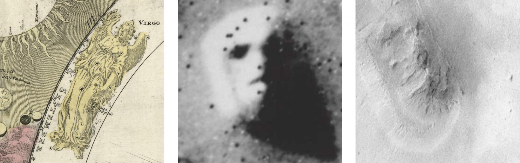 Slika 6 (levo) Johann Gabriel Doppelmayr. 1707. Systema Solare et Planetarium. V: Johann Baptist Homann, Neuer Atlas. [detajl bronaste gravure]. (Zbirka grafične umetnosti opatije Göttweig, , XIII_A_b_21_004, Krems, Avstrija: Oddelek za znanost podob, Donavska Univerza). Objavljeno z dovoljenjem. Slika 7 (sredina) NASA/JPL, 1976. PIA01141: Geološka formacija »Obraz na Marsu«. [obrezana različica izvorne slike obdelane s serijskim postopkom] Dostopno na: [Dostopano 14. sept. 2018]. Slika 8 (desno) NASA, JPL in Malin Space Science Systems, 1998. Pogled kamere Marsovega Orbiterja na »Obraz na Marsu« − primerjava z Vikingom. Dostopno na: [Dostopano 14. sept. 2018].