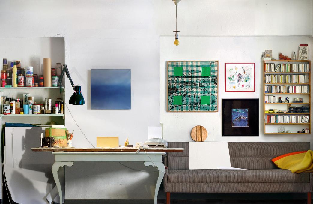 Stena ateljeja (Studio Wall), 2008, inkjet tisk na samolepilni papir, 142 x 228 cm, zasebna zbirka.