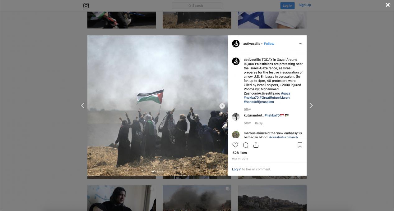 Slika 8. Activestills.org. Objava na Instagramu, 14. maj 2018.