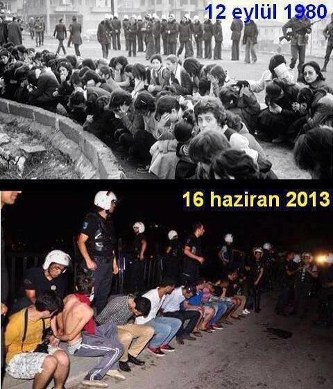 Kolaž, ki sopostavlja črno-belo podobo iz obdobja vojaškega udara leta 1980 in podobo množične aretacije med protesti v parku Gezi, nastalo 16. junija 2013. Fotograf neznan, izdelovalec kolaža anonimen.