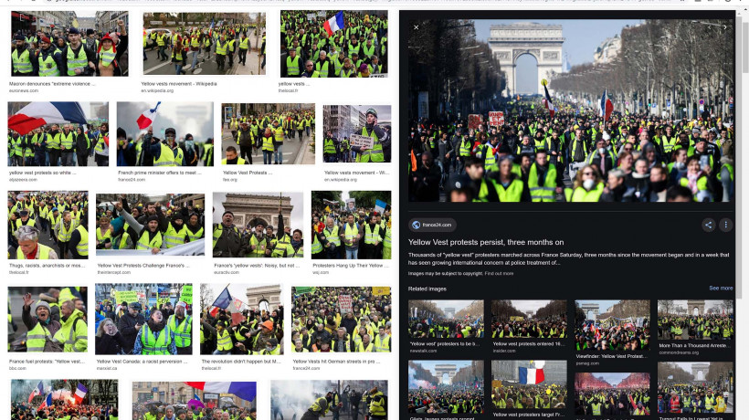 "Nataša Ilec: Protest, Symbol, and Web Browser. Google image search. Search word: ""Yellow Vests""."