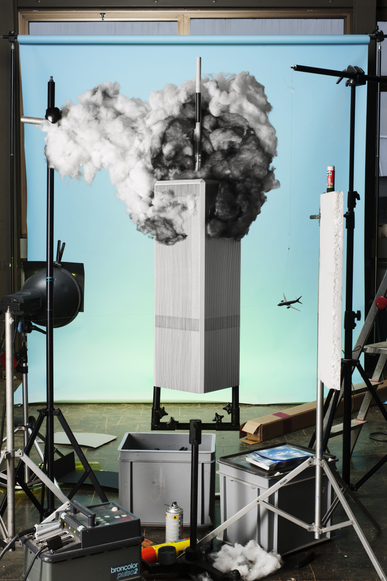 """Jojakim Cortis & Adrian Sonderegger: The Making of """"9/11"""" (by John Del Giorno, 2001), 2013. From the series Icons, 2012–."""