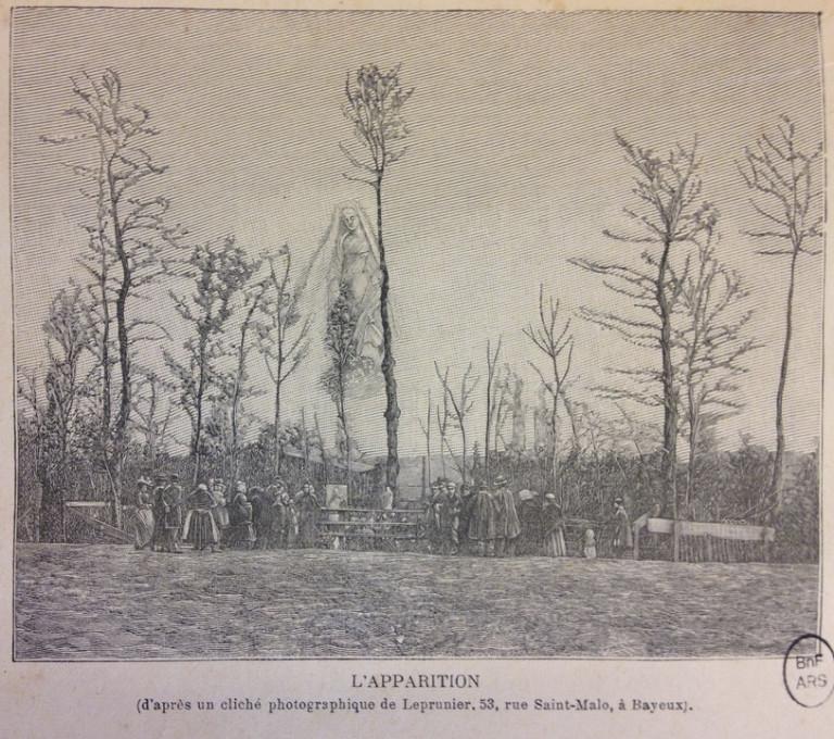Slika 7. Prikazovanje (gravura iz fotografije Julesa Leprunierja). Iz Gaston Méry, La voyante de la rue de Paradis et les apparitions de Tilly-sur-Seulles - quatrième fascicule (Pariz, 1896), 225.