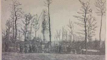 Prikazovanje (gravura iz fotografije Julesa Leprunierja). Iz Gaston Méry, La voyante de la rue de Paradis et les apparitions de Tilly-sur-Seulles - quatrième fascicule (Pariz, 1896), 225.
