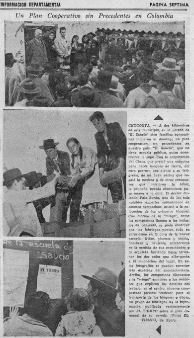 Slika 3. Efraín García-Egar, fotografije v prispevku »Prvi načrt samoupravljanja v Kolumbiji«, El Tiempo, 27. maj 1958, 7.
