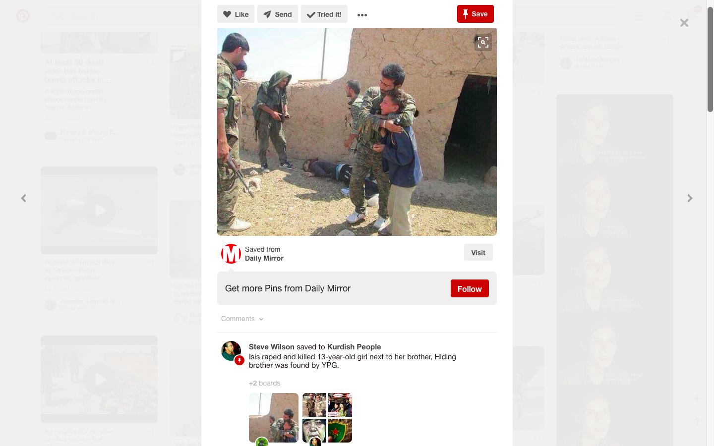 Pinterest. Iskalni niz YPG. Zajem zaslona dne 22.01.2017 ob 17.53.09 uri.