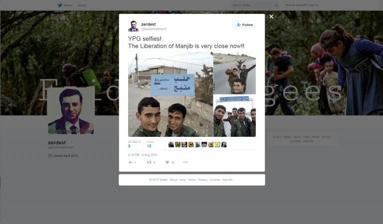 Twitter YPG. Zajem zaslona dne 19.01.2017 ob 17.41.24 uri.
