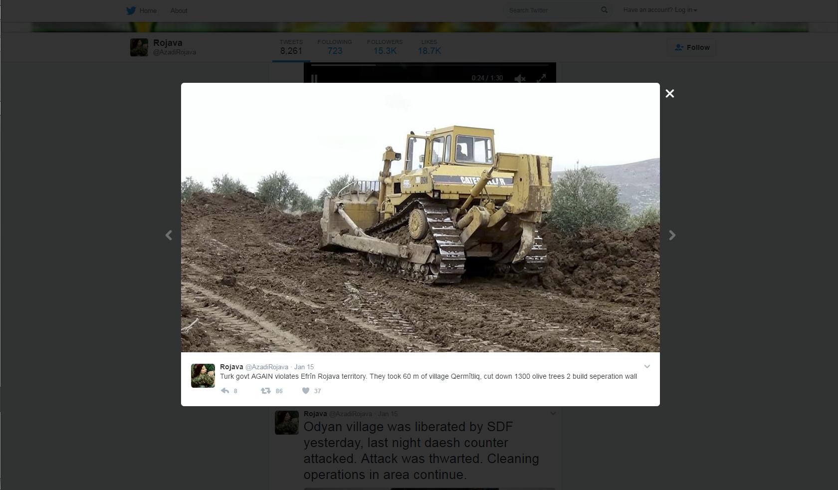Twitter YPG. Zajem zaslona dne 20.01.2017 ob 15.49.57 uri.